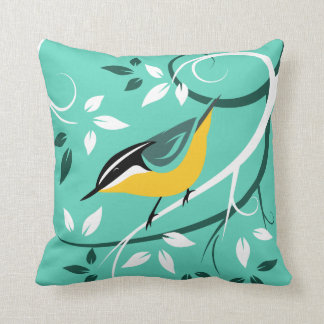 Decorative Red Breasted Nuthatch Throw Pillow