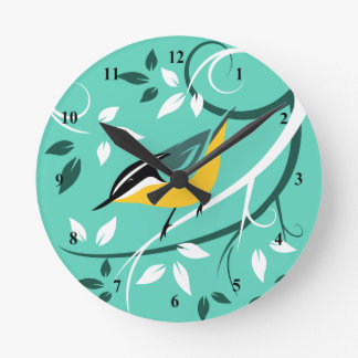 Decorative Red Breasted Nuthatch Wall Clocks