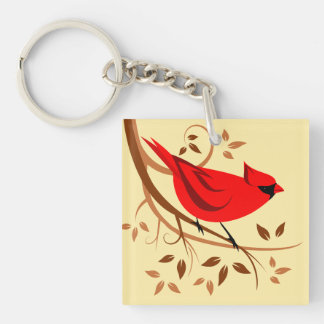 Decorative Red Cardinal Gifts Double-Sided Square Acrylic Keychain