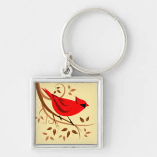 Decorative Red Cardinal Gifts Silver-Colored Square Keychain