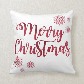 Decorative Red Glitter Snowflakes Merry Christmas Throw Pillow