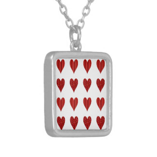 Decorative Red Hearts Silver Plated Necklace