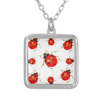 DECORATIVE RED LADY BUG GIFTS SILVER PLATED NECKLACE