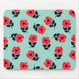 Decorative Red Mint Floral Pattern Mouse Pad