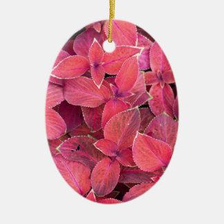 Decorative red plants ceramic oval ornament