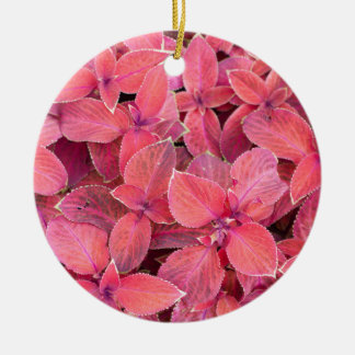 Decorative red plants round ceramic ornament
