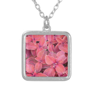 Decorative red plants silver plated necklace