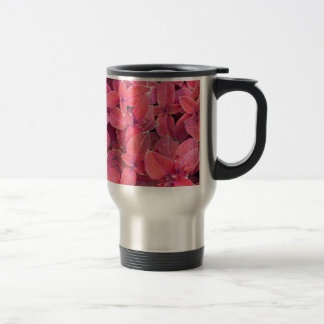 Decorative red plants travel mug