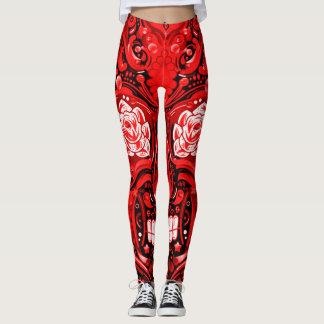 Decorative Red Sugar Skull Leggings