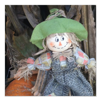 Decorative Scarecrow Fall Harvest Party Invites