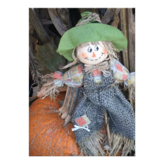 Decorative Scarecrow Thanksgiving Potluck Invites