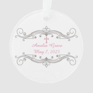Decorative Scroll Ornament, Pink Cross, Religious Ornament