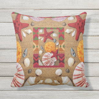 Decorative Seashells and Sand Outdoor Throw Pillow