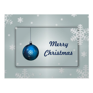 Decorative Silver Snow Blue Ball Merry Christmas Postcard