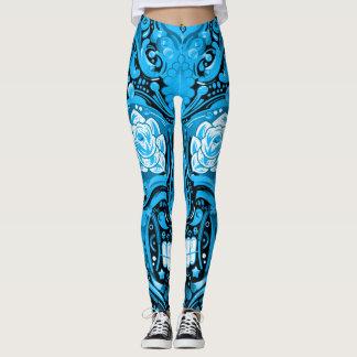 Decorative Sky Blue Sugar Skull Leggings