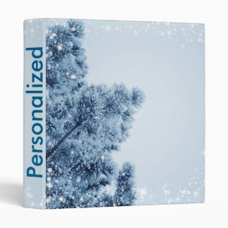 Decorative Snow Blue & White Ball Merry Christmas 3 Ring Binders