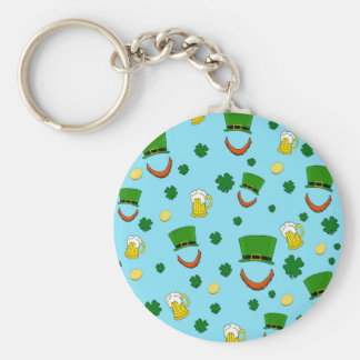 Decorative St. Patrick's day pattern Basic Round Button Keychain