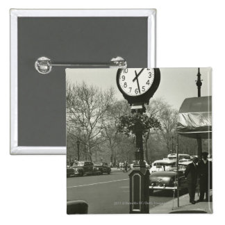 Decorative street clock two background people 2 inch square button