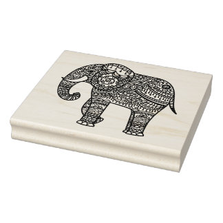 Decorative Style Elephant Rubber Stamp