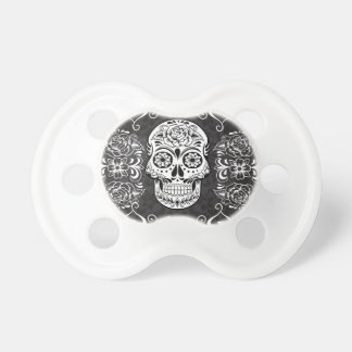 Decorative Sugar Skull Black White Gothic Grunge Baby Pacifier