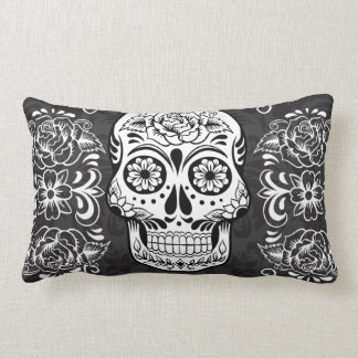 Decorative Sugar Skull Black White Gothic Grunge Pillow