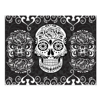 Decorative Sugar Skull Black White Gothic Grunge Postcard
