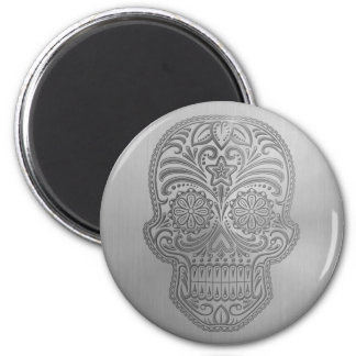 Decorative Sugar Skull with a Stainless Steel Look 2 Inch Round Magnet