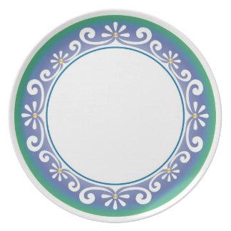 Decorative Swirls Border - Blue Green On White Plate