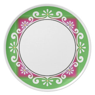 Decorative Swirls Border -  Green On White Dinner Plates