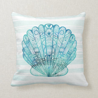 Decorative Turquoise Seashell Pillow