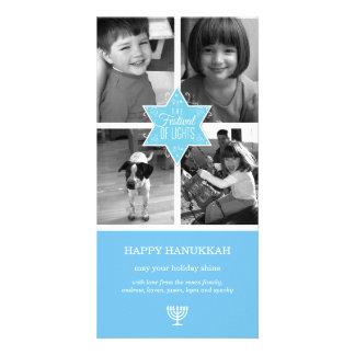 Decorative Typography Light Blue Star Hanukkah Card