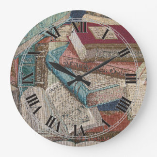 Decorative Vintage Books Background Wall Clock