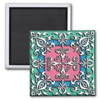 Decorative vintage ornament french square magnet