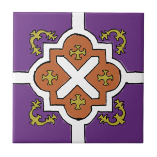 Decorative Violet/Orange/Olive Spanish Style tile