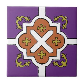 Decorative Violet/Orange/Olive Spanish Style tile