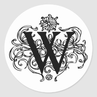 Decorative W Initial Sticker
