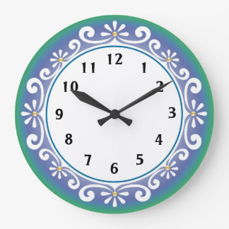 Decorative Wall Clock::Blue Green Large Clock