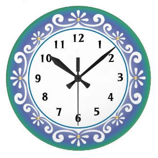 Decorative Wall Clock::Blue Green Wallclock