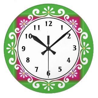 Decorative Wall Clock::Green Large Clock
