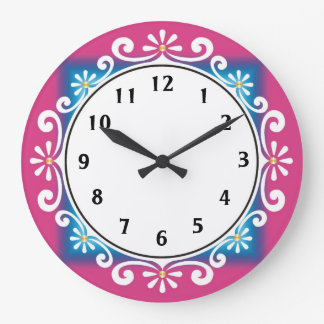 Decorative Wall Clock::Pink Frame Large Clock