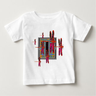 DECORATIVE WESTERN STYLE RED DRAGONFLIES GREY ART BABY T-Shirt