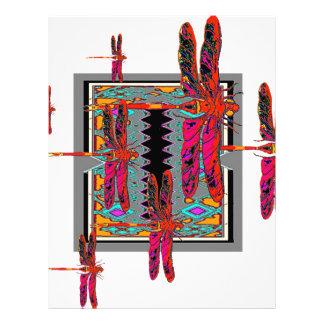 DECORATIVE WESTERN STYLE RED DRAGONFLIES GREY ART LETTERHEAD