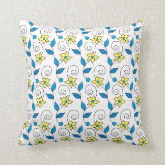 Decorative White Throw Pillows -Yellow Flowers