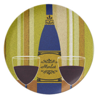 Decorative Wine Bottle And Wine Glasses Dinner Plates