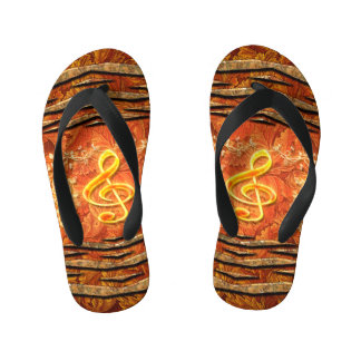 Decorative yellow clef with roses kid's flip flops