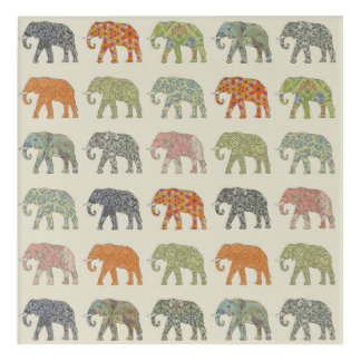 Decorator Elephant Trendy Pattern Acrylic Print