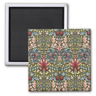Decorator Floral Wallpaper Pattern Vintage Chic Square Magnet