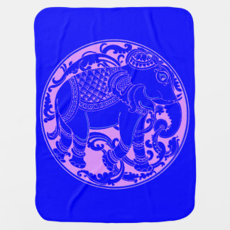 Decore East Indian Blue-Pink Elephant Baby Blanket