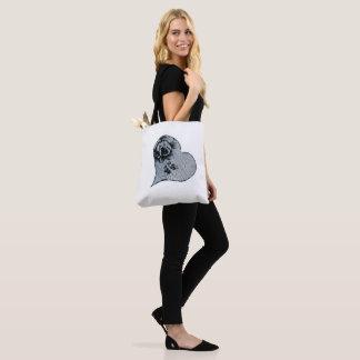Decoupage  heart tote bag