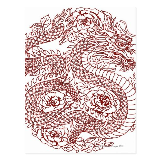 Decoupage of a Chinese dragon Post Card